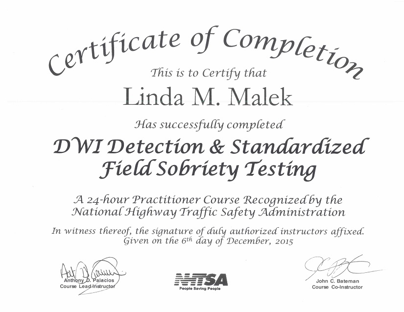 DWI Detection Certification