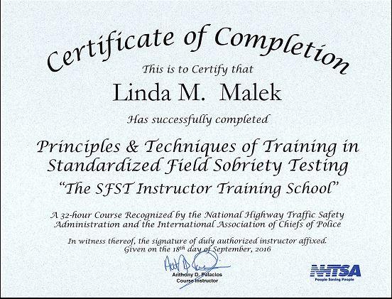 Linda Malek field sobriety testing certification